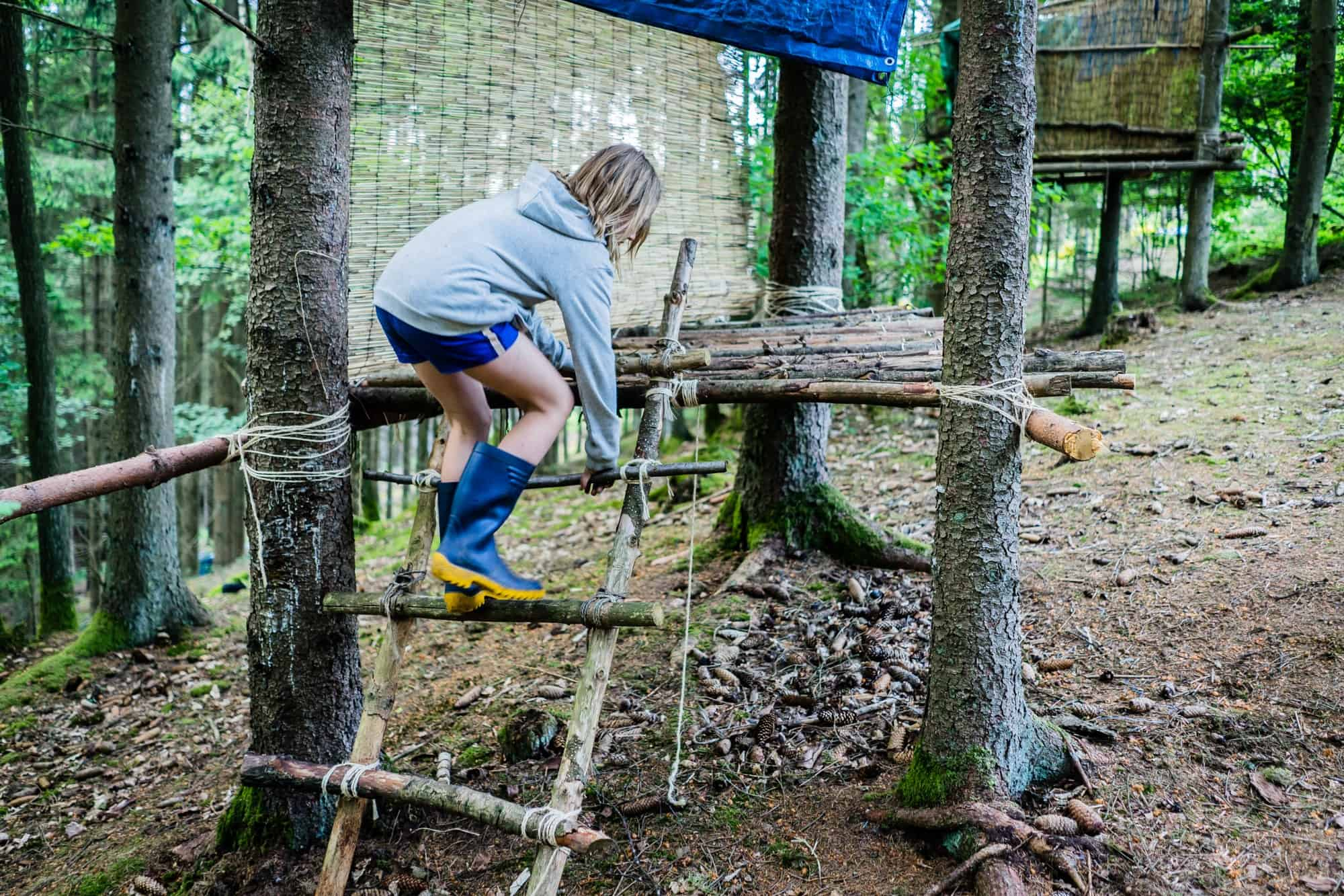 boomhut bouwen in de Ardennen van Belgie