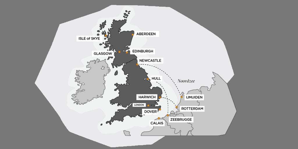kaart ferries nederland schotland belgie engeland po dfds