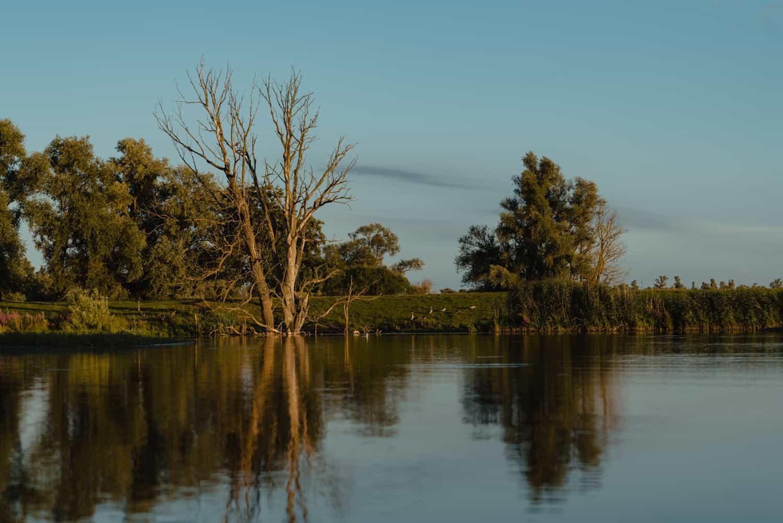 zonsondergang kano varen biebosch